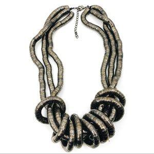 Chunky Triple Strand GunMetal Snake Link Necklace